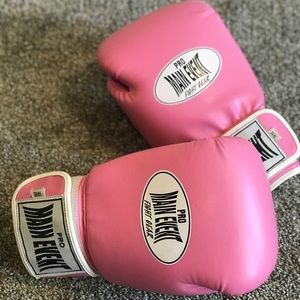 Pink boxing gloves.